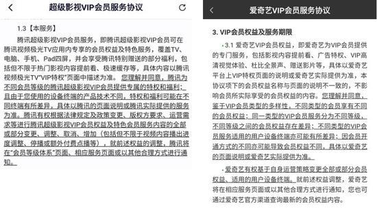 腾讯视频(左)和爱奇艺(右)会员服务协议中对会员权益的说明