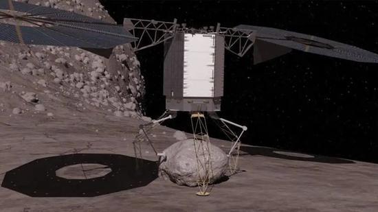 碎石堆结构小行星上采集岩石