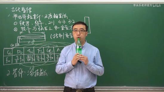 """李永乐老师用装水高度不同的瓶子""""吹奏""""出不同音高的名场面"""