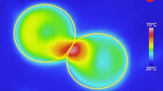 微波炉中两颗葡萄的热量分布 |图源:Khattak, H. K., Bianucci, P. and Slepkov, A. D.(2019)