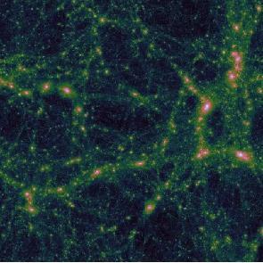 图1: 暗物质主导了结构形成, 星系在由暗物质主导的暗晕中形成和演化。图示为超级计算机模拟的结构形成,边长大概2亿光年。 从黑色、绿色、黄色、粉色到白色显示了密度从低到高的变化,暗晕对应于白色的高密度区域。