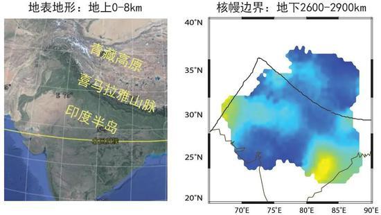 图5 研究区地形图及核幔边界速度变化图(结果速度变化图中:蓝色为高速,代表俯冲结构,黄色为低速,代表化学异常体或熔体。)(图片来源:左图来自谷歌地球,右图来自中科院青藏高原所。)