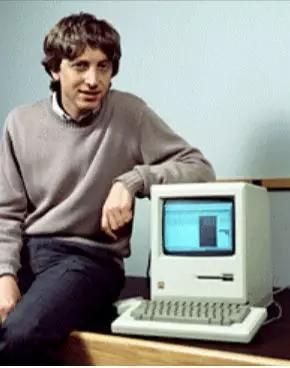 图注:盖茨和苹果的麦金塔电脑
