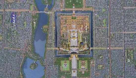 《Minecraft》版故宫的俯视图,一共用掉了一亿个方块