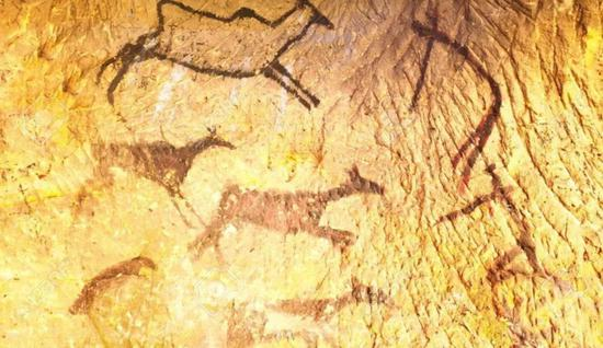 表现人类狩猎群鹿的壁画