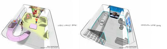 (A350 XWB 下甲板模块设计草图,图自空中客车官网)