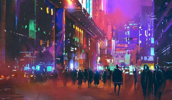 经典的科幻场景——赛博朋克风的夜晚街头〡站酷海洛