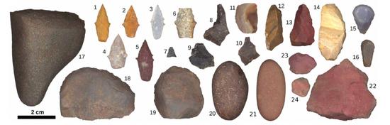 墓穴中发现的各种石器