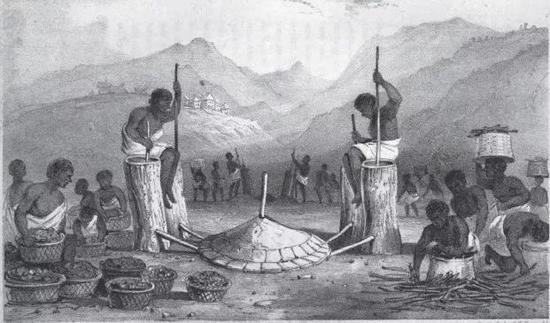 馬達加斯加塊鍊鐵雙缸鼓風筒(William Ellis, et al。。 History of Madagascar。 1838。)