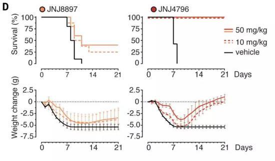 ▲相较另一款分子,JNJ-4796在小鼠中的治疗效果更好