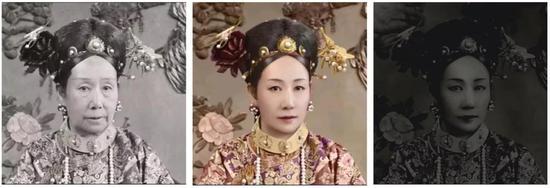 无处理照片中的你(左)、镜子中的你(中)和手机黑屏中的你(右) | 作者改编自慈禧皇太后光绪癸卯年照片之一及TR美术修复作品