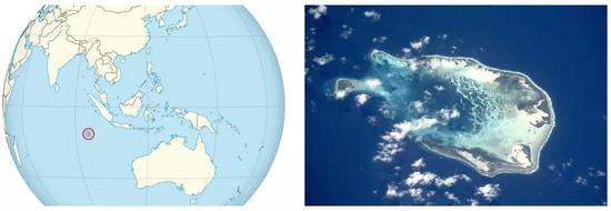 左:科科斯(基林)群岛(Cocos (Keeling) Islands)在地球上的位置,by TUBS;右:科科斯(基林)群岛卫星照片|by NASA