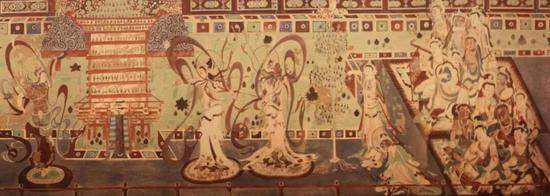 ▲《舞乐图》,是位于敦煌石窟220窟的壁画,图中心的两对舞伎随着音乐在小圆毯上旋转腾跃,跳的应该就是西域的胡旋舞或胡腾舞