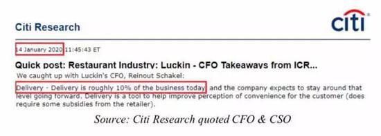 花旗的第三方报告,引用了管理层数据,预估19年Q3,外卖占比10%左右