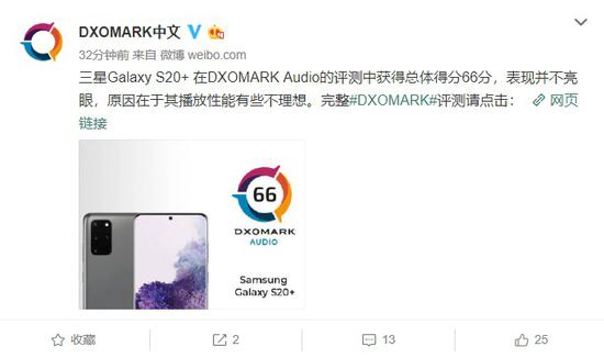DXOMARK:三星GalaxyS20+音频得分66分