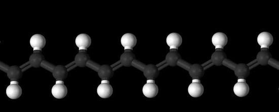聚乙炔的化学结构式(上)和球棍模型图(下)。图片来源:wikipedia