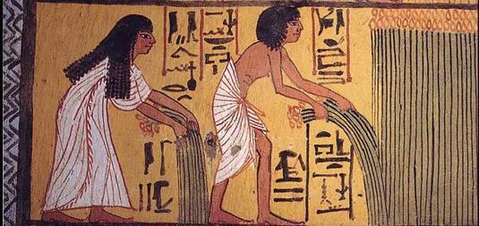 古埃及壁画中收割作物的场景。图片来源:Wikimedia Commons