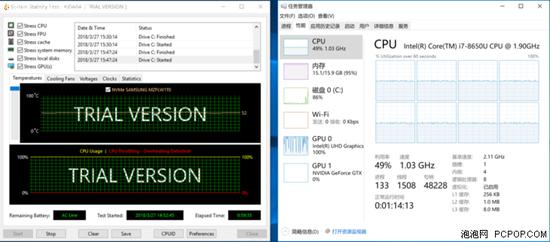 满载时的降频现象也很明显, CPU 频率只可以维持在 1.03GHz。
