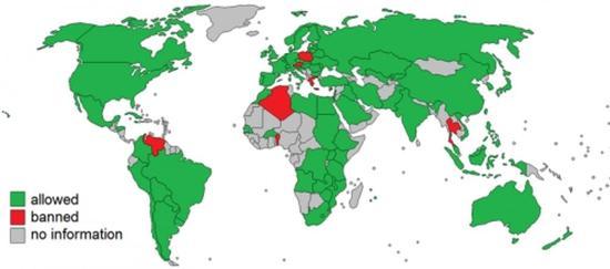 图5 上图绿色为允许利用转基因产品生产或销售的国家和地区,红色为禁止的国家和地区,灰色区域无相关信息