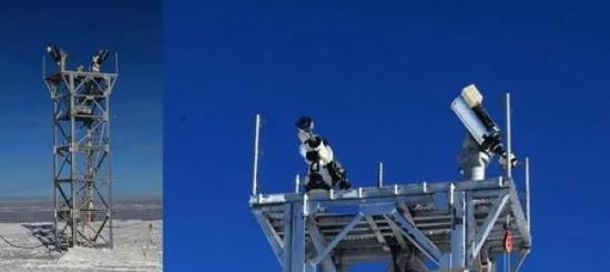 南極崑崙站2臺冗餘的視寧度望遠鏡及其8米高的塔架(安裝時照片)