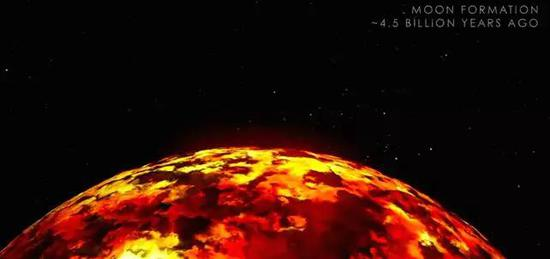 月球岩浆海洋时期的假想图。图片来源:NASA/SVS/GSFC