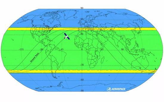 天宫一号可能的坠落地点(绿色区域),图自Aerospace