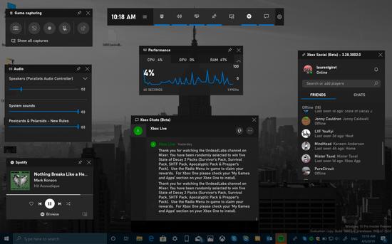 微软发布Xbox Game Bar 适用在Win10上的所有PC游戏