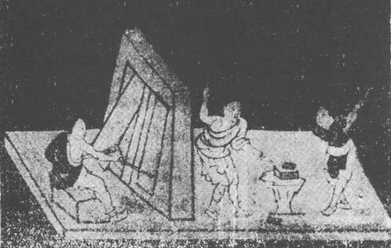 """敦煌榆林窟西夏壁畫《千手觀音變》局部""""打鐵""""圖(J。 Needham。 Science and Civilization in China(Ⅳ︰2),1965)"""