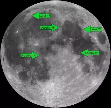 图2 月面反射器分布