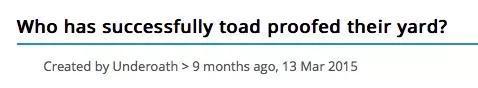 人们在网上求助如何防止蟾蜍进入自家院子