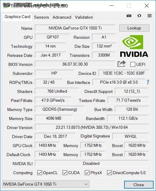 ▲NVIDIA GeForce GTX 1050Ti独立显卡信息