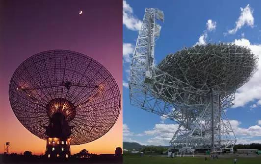 """帕克斯望远镜(左)与""""绿岸""""望远镜(右)"""