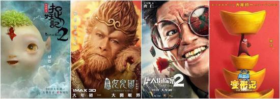 """影片角色海报,几部影片都是大IP电影,如""""胡巴""""""""西游记""""""""熊大"""""""