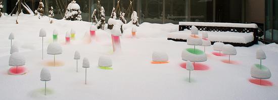 颜色鲜艳的形状为大雪赋予了鲜亮的色彩