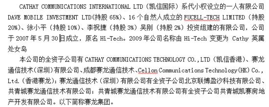 审计报告描述的赛龙系股权结构(审计报告P1)