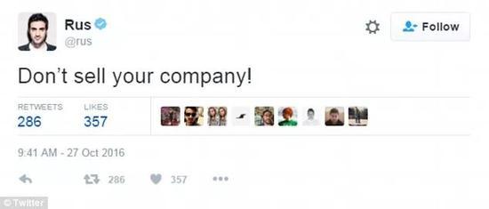 Yusupov后来发过一条推文:不要卖掉你的企业!