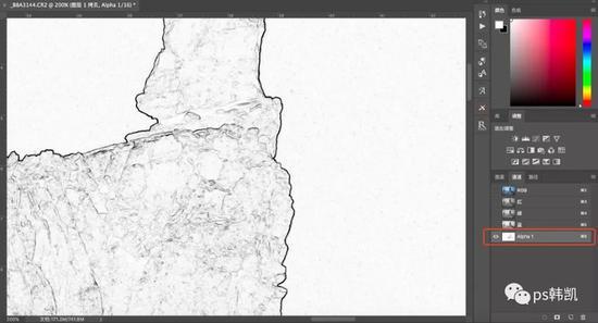 点击滤镜——风格化——查找边缘;边缘线以黑色显示出来