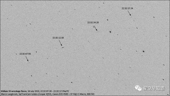 撞击发生后铱星33号主要碎片的地面监视画面来源:wiki