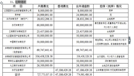 合并报表项目(短期借款)注释(审计报告P5):