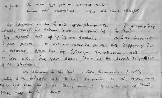 1911年11月10日,列维克在阿代尔角所记录的动物学笔记里,用希腊文写的内容。图源:Why Evolution Is True