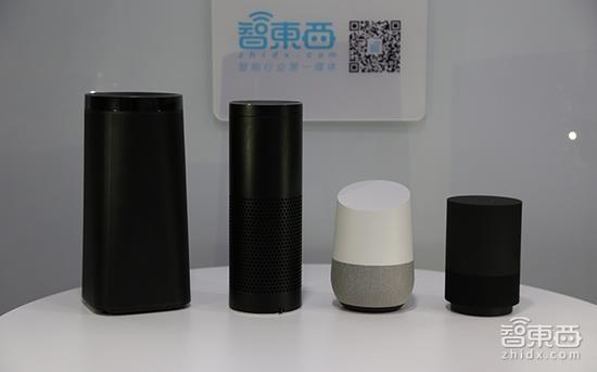 从左依次为叮咚音箱A1、亚马逊Echo、Google Home、天猫精灵X1