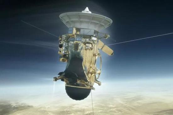 卡西尼号进入土星大气开始剧烈摩擦时艺术效果图(图片来源:NASA)