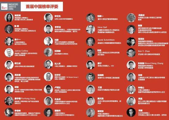 """图丨首届中国区""""35 岁以下科技创新 35 人""""评委名单"""