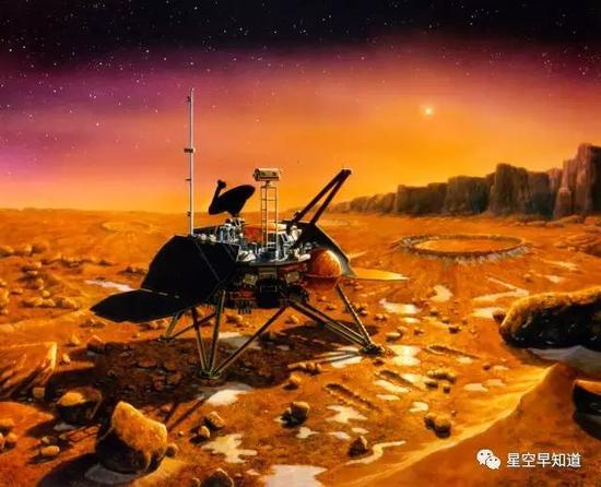 """""""火星极地着陆者""""在火星表面工作示意图来源:NASA"""