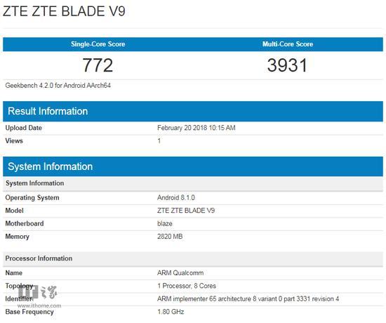 中兴Blade V9现身Geekbench: