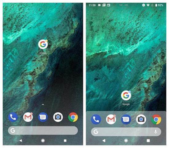 网曝图片(左侧为安卓8.0,右侧为安卓9.0)