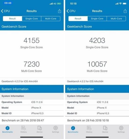iPhoneX高负载跑分和正常跑分