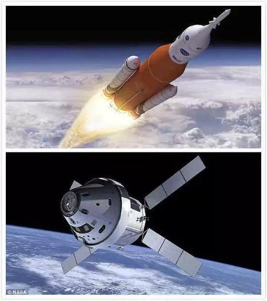 已经烧钱达到3000亿人民币级别的太空发射系统和猎户座飞船(图片来源:NASA)