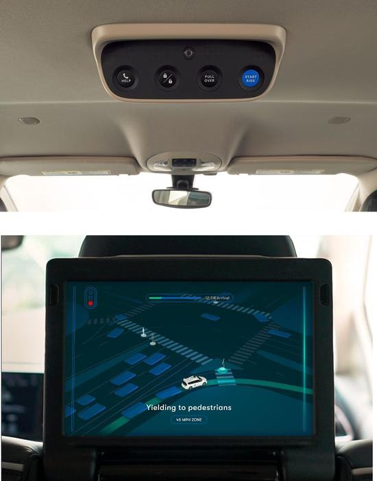 图 3 Waymo 自动驾驶汽车交互设计细节:物理按键与可视化设计