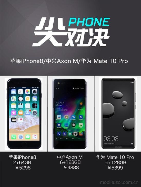 5K预算换机 iPhone8/中兴Axon M/Mate 10 Pro对比